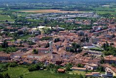 Townscape and aerial view of Cormons, wine region of the eastern Friuli, in Italy. Townscape and aerial view of Cormons, wine production center of the eastern royalty free stock image