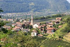 Townscape of Algund and mountain alps panorama in South Tyrol. Italy stock photography