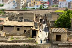 A townscape- ancient Herculaneum - Italy. Herculaneum was an ancient city on the Gulf of Naples that sank like Pompeii, Stabiae and Oplontis during the eruption stock photo