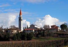 Townscape av Santa Maria del Gruagno, en medeltida by nära Udine i Italien Royaltyfri Bild