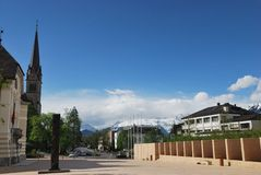 Townscape av Vaduz Royaltyfri Fotografi