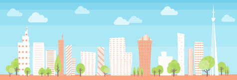 Townscape back image illustration wide size Stock Photos