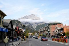 Townscape of Banff,Canadian Rockies,Canada Royalty Free Stock Photos