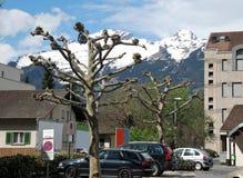Townscape de Vaduz Imágenes de archivo libres de regalías