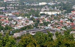 Townscape di Leopoli da altezza Città dell'Ucraina Fotografia Stock Libera da Diritti