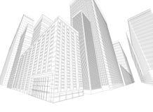 Townscape die wireframe bouwen vector illustratie