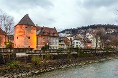 Townscape of Feldkirch. In a winter evening - Austria stock photo