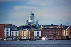 Townscape of finnish capitol Helsinki  at baltic sea Royalty Free Stock Images