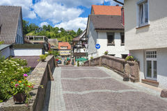 Townscape with a historic bridge in Alpirsbach Royalty Free Stock Photography