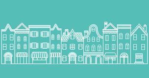 Townscape line Illustration Stock Photos