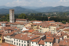 Townscape of Lucca with amphitheatre Royalty Free Stock Photo