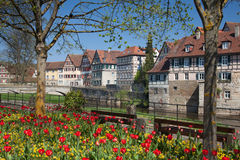Townscape medievale di Schwaebisch Corridoio in Germania Fotografie Stock Libere da Diritti