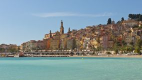 The townscape of Menton. Menton, situated on the French Riviera, on the border with Italy Stock Images