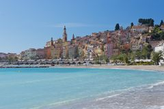 The townscape of Menton. Royalty Free Stock Images