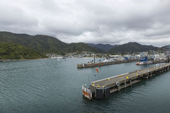 Townscape of Picton and Marlborough Sounds, New Zealand. Famous Royalty Free Stock Photography