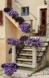 Townscape Scanno, Treppe mit surfiniya Blumen Lizenzfreie Stockfotografie