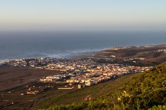 Townscape of Sidi Ifni from hill.  stock image