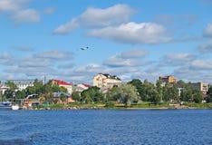 Townscape Sortavala from Lake Ladoga. Karelia.  royalty free stock images
