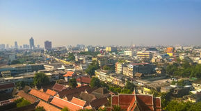 Townscape and Temple in Bangkok. I taked this photo on the top of the Golden Mount in Bangkok, Thailand stock images