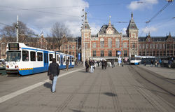 Townscape with tourists from Amsterdam Royalty Free Stock Image