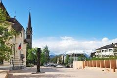 Townscape van Vaduz Stock Foto's