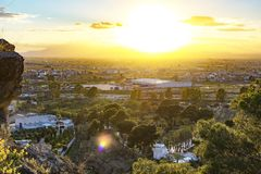 Townscape view at sunset in Spain. From the top of a mountain city cityscape dusk landscape sky background cloud evening light nature outdoor scene sunrise royalty free stock photography