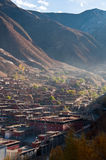 Township. The town and Tibetan temple in valley and mountain Royalty Free Stock Images