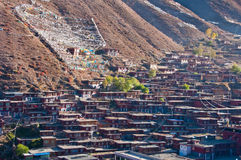 Township. The town and Tibetan temple in vally and mountain Royalty Free Stock Image