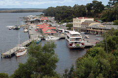 Township. The township of Long Bay and Regatta Point was re named back in 1877 to Strahan. It is situated on the west cost of Tasmanian Australia. To day it is royalty free stock photo