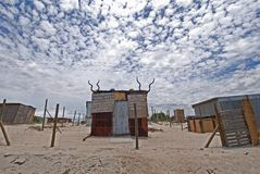 Township Africa. Shed home in Khayaletsha Township outside Cape Town - uniquely branded by owner stock photography