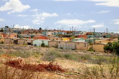 Township in South Africa. View of a Township in South Africa - Group of colored houses stock photos