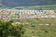 Township in South Africa. Group of colored houses stock photography