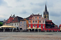 Townsquare of Sibiu old town, Romania Royalty Free Stock Photo