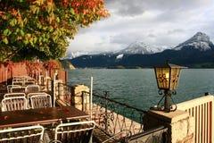 TownSt. Wolfgang på Wolfgangsee laken i Österrike Fotografering för Bildbyråer