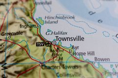 Townsville на карте Стоковые Фото