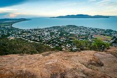Townsville city, sea and islands from castle hill lookout in Queensland, Australia stock images