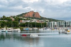Townsville Marina with Castle Hill stock photography