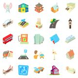 Towny icons set, cartoon style Royalty Free Stock Images