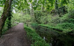 Towpath along the disused Severn and Thames Canal near to Chalford, Stroud, Gloucestershire stock image