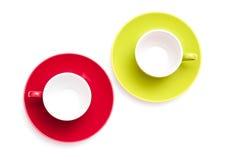 Towview su due tazze del caffè espresso Immagine Stock