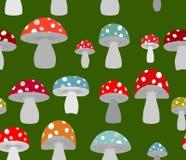 Toxic Amanita mushrooms seamless background. Mushrooms seamless Stock Images