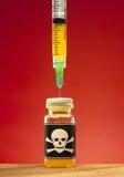 Toxic ampule. Poison and plastic syringe. Toxic ampule Royalty Free Stock Image