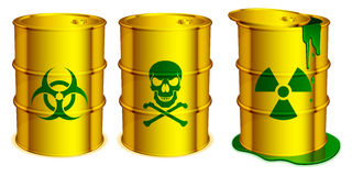 Toxic barrels. Three yellow barrels with warning signs and toxic substance inside royalty free illustration