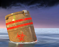 Toxic Biohazard Waste Material Illustration. Toxic biohazard waste material is pollution in the sea or ocean. The bio hazard barrel contains biological toxins Royalty Free Stock Photos