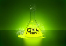 Toxic Chemical. A glowing chemical in a bottle Royalty Free Stock Photos
