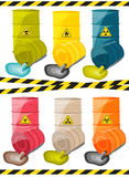 Toxic chemicals leak out of the container with the sign dangerous. Vector vector illustration