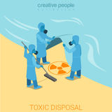 Toxic disposal nuclear wasteflat sea isometric vector 3d Royalty Free Stock Photo