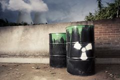 Toxic drum barrels outside nuclear plant Stock Photo