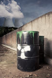 Toxic drum barrels outside nuclear plant Royalty Free Stock Images