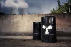 Toxic drum barrels outside nuclear plant Royalty Free Stock Photo